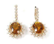 Ovalado Naranja Citrino & Diamante Gota Broche Mujer Anillo 14k Oro Rosa 16.11Ct