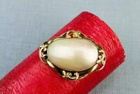 1870 Brooch Shell Pinchbeck Gilded Metal Antique English Victorian Oval Retro