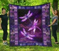 Purple Dragonfly Fleece Blanket 50x60; 60x80 Made In US