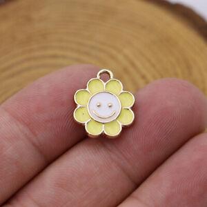 10PCS Enamel Sunflower Flower Charm pendant Jewelry Making Bracelet Accessories