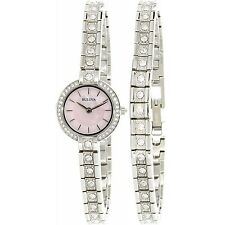 Bulova Women's 96X131 Swarvoski Crystal Accents Pink Dial Bangle Watch