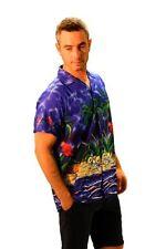 Camicie casual e maglie da uomo a manica corta Blu Floreale