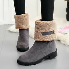 Winter Womens Suede Warm Snow Martin Boots Fur Thicken Mid Calf Ankle Shoes Size