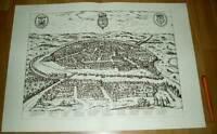 Sevilla alte Ansicht Merian Druck Stich 1650 (schw) Städteansicht Spanien