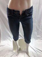 Levis Denizen Womens Medium Wash Flap Pocket Capri Cropped Denim Jeans Size 4