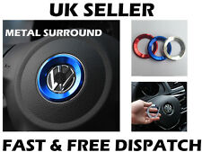 VW BLUE Steering Wheel Metal Badge Surround Ring Jetta Golf Transporter T5