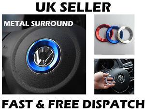 Blue Steering Wheel Metal Badge Surround Ring Fits VW Jetta Golf Transporter T5