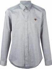 Kenzo Mens Eye Button Down Shirt 100% Cotton Grey/Silver Sz 43/17 - XXL BNWT