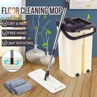 US Dry & Wet Flat Mop Microfiber 4 Heads 360° Automatic Spin Dust Bucket