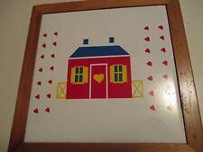"Vintage Original Ceramic Wood HEART HOUSE Tile Trivet 7.25X7.25""  265"