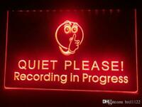 """Red""""QUIET PLEASE - RECORDING IN PROGRESS"""" Neon Sign Light Home Broadcast Podcast"""