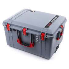 Silver & Red Pelican 1637 Air case No Foam.  With wheels.