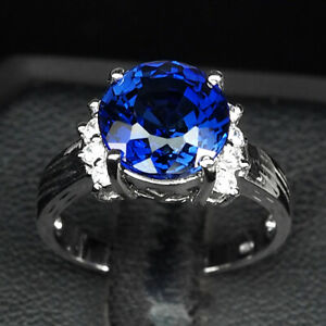 SAPPHIRE KASHMIR BLUE ROUND 5.30 CT. 925 STERLING SILVER RING SZ 7 ENGAGEMENG