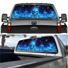 1PCS Car Blue Flaming Skull Rear Window Blue Graphic Decal Back Pickup Graphics