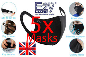 5 X Face Masks Reusable Washable Breathable Black Adult Dust Protective Covering