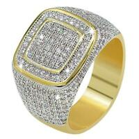 18K Gold Plated Cluster Iced Out CZ Lab Rings Men Women Hip Hop Bling Pinky Ring