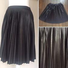 River Island Womens Pleated Metalic Shiny Black Skirt UK10 EUR36 Knee Length