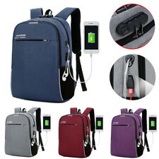 "Men Women 16"" Laptop Backpack School Anti-Theft Outdoor Travel USB Charger Bags"