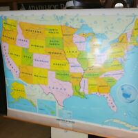 USA Pull Down Map1996 Modern Educational Systems Rare Zoom Meeting Back Drop