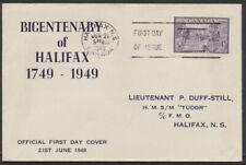1949 #283 Halifax Bicentenary FDC, Duff-Still Cachet, Halifax First Day Slogan