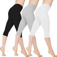 Women Stretch Cotton Capri Leggings Sports Yoga Pants Slim Gym Fitness Plus Size
