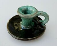EVANGELINE Canada Art Pottery Candlestick Holder with Handle Teal Drip Glaze