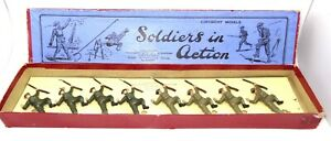 BRITAINS PRE-WAR SET 1611 GAS MASK SOLDIERS CRAWLING - RARE WITH BOX
