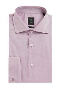 Hugo Boss Men's 'T-Stan' Regular Fit Light Purple Striped Cotton Dress Shirt 15