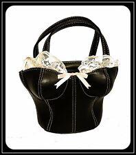 Susurro Rosa Encaje con estilo corsé negro imitación cuero de diseñador Novedad Bolso de mano