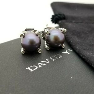 David Yurman Sterling Silver 9.5'mm Tahitian Black Pearl & Diamond Stud Earrings
