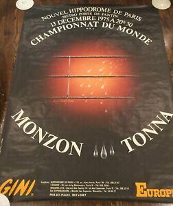 CARLOS MONZON V GRATIEN TONNA-WORLD MWC-1975-BIG BOXING POSTER-RARE FROM FRANCE!