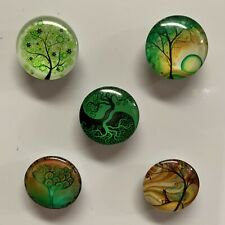 Handmade Green Tree Design Glass Fridge/Memo Magnets (set of 5)