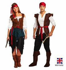 ADULT PIRATE CARIBBEAN Fancy Dress Costume Ladies Mens Couples Halloween NEW UK