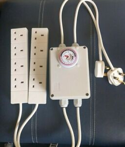 Gro-lec Grow Light Contactor / Lighting Timer 8 Way 26 Amp with 3m plug cables