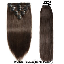 Remy Real Human Hair Extensions  Clip In Full Head Double Drawn Easy Attach SY