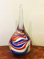 A gorgeous crystal Paperweight  Swirly Red, White and Blue