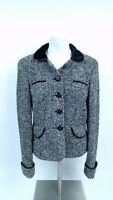 Ann Taylor Loft Womens Jacket Size 6 Gray Black Wool Blend Coat Long Sleeve