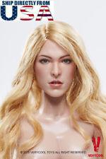 1/6 Milla Female Head Sculpt BLONDE Curly Hair FX03A For Hot Toys Phicen U.S.A.
