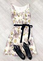 L K Bennett Floral A Line Dress Sleeveless Sz 8 Fashion Occasion Nude Mix