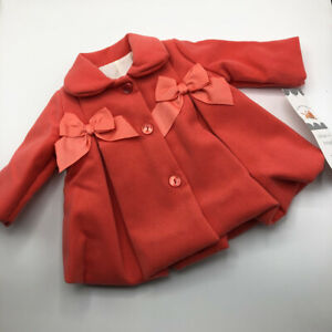 Baby Babys Babies Girl Girls Lined  Best Coat Coral with Bows Christmas