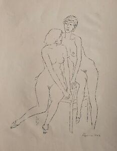 Fritz Cremer - zwei weibliche Akte - Lithographie - 1962