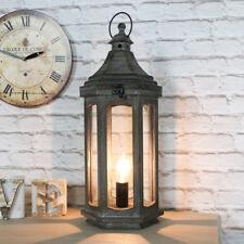 VINTAGE antico in legno Lanterna Stile Lampada Da Tavolo Salotto Illuminazione Camera da Letto