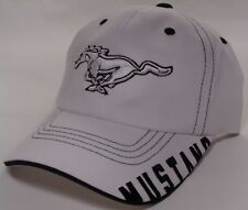 Hat Cap Licensed Ford Mustang Corner Text White CF