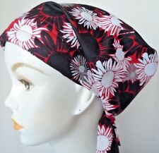 Red White & Black Floral Cancer Chemo Head Scarf Turban Bad Hair Day Hair Cover