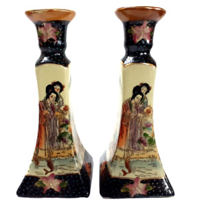Vintage Japanese Ceramic Candlesticks - A Pair Rare Hand Painted -Gold Water