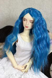 "1/4 7-8"" BJD DOLL WIG MSD BLUE WAVY BLEND LONG HAIR DOLLFIE JR-146 NEW USA"