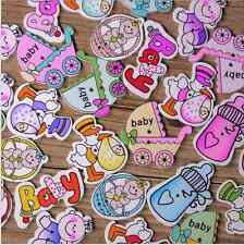 80pcs Cartoon Baby Series Wooden Buttons Feeding bottle Baby carriages Mixed