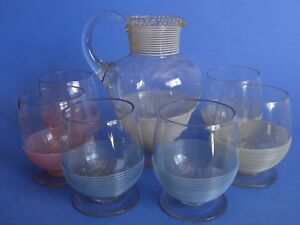 Antique SET Victorian Stevens & Williams Threaded Art Glass ENGLAND CIRCA 1880s'