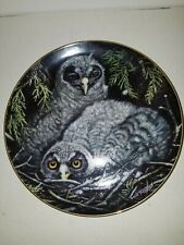 Great Grey Owls Plate Baby Owls Collection Coa