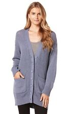 C&C California Women's Long Sleeve Aran Cardigan Sweater, Dutch Blue, S/P ~ NWT